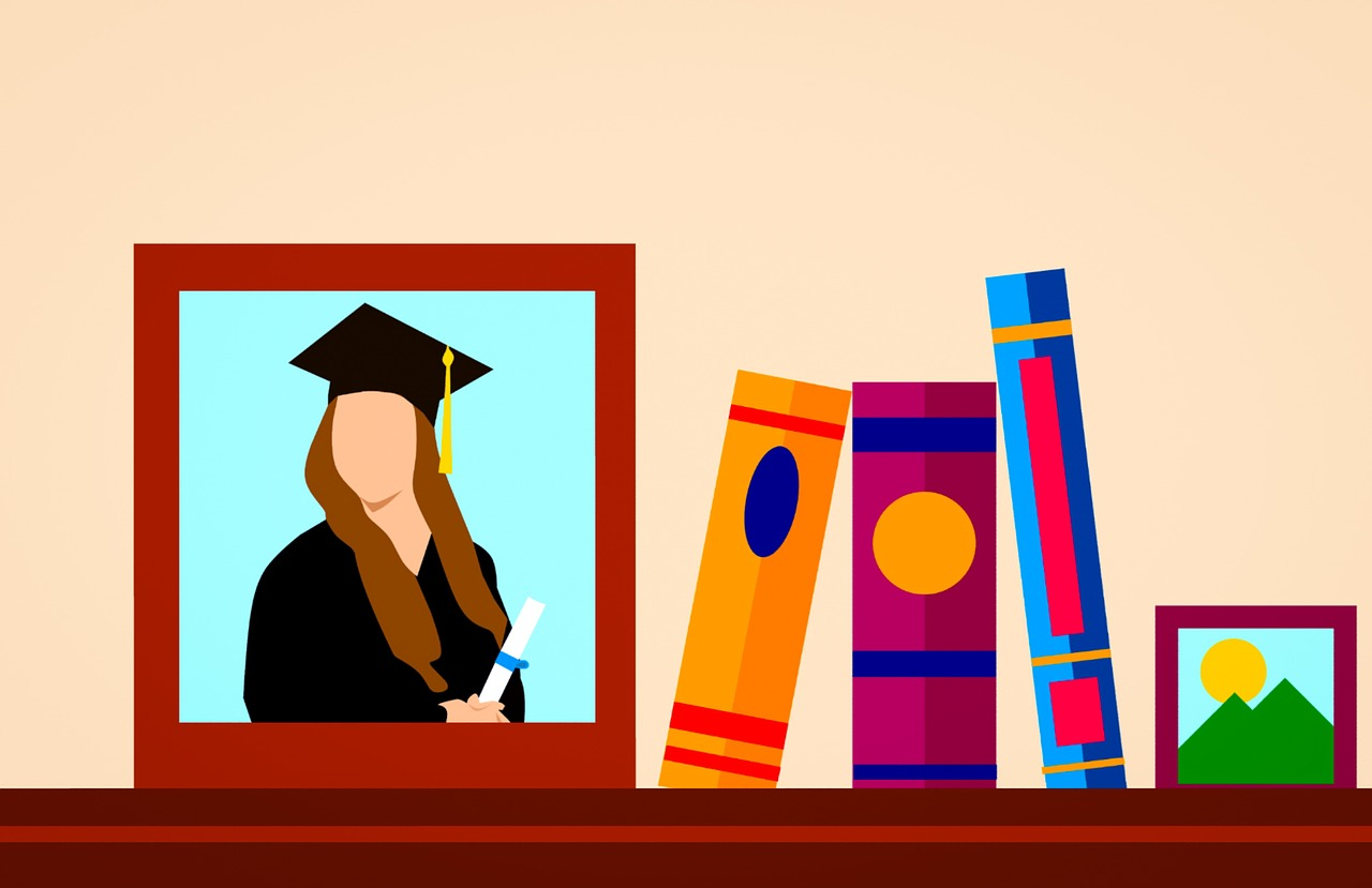 A photo of a graduate on a shelf with books.