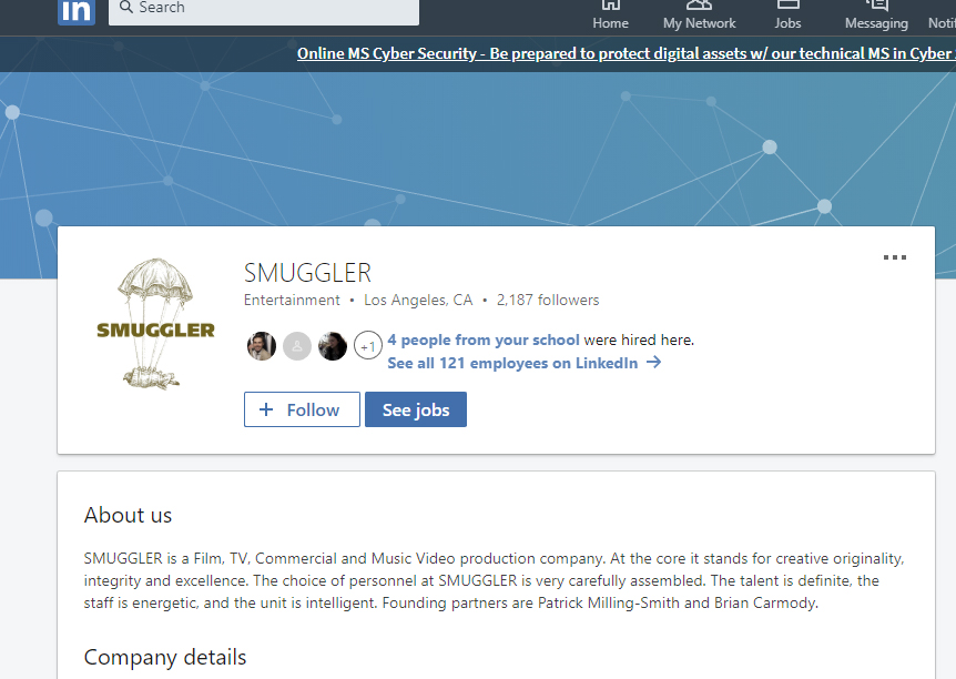 Smuggler production company has 120 employees listed on their LinkedIn.